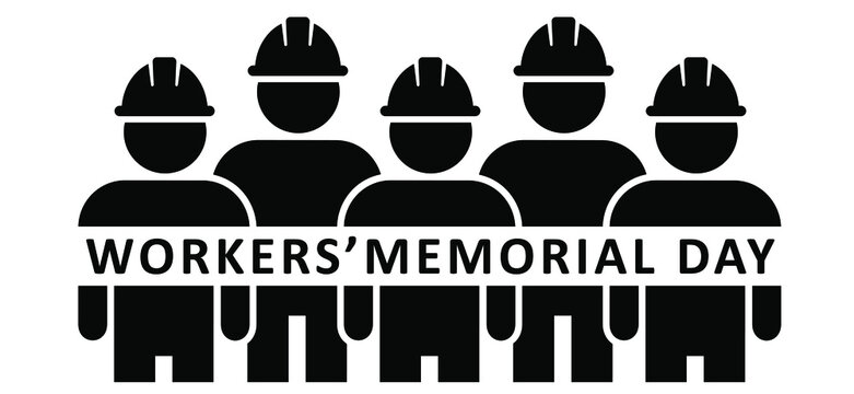 Slogan Workers' Memorial Day. Workman withe safety helmet hats. International workers memorial day observed each year on April 28. Vector sign. World day for safety and health at work,