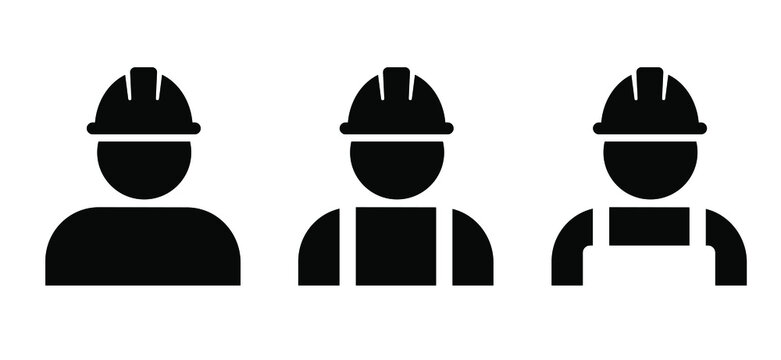Construction worker in protective clothing and helmet. Person profile with safety helmet. Flat vector sign. Pictogram logo icon. Safety vest and equipment.. Workers' memorial day