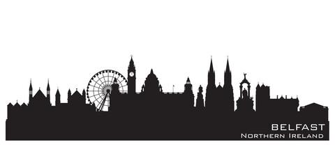 Belfast Northern Ireland city skyline vector silhouette
