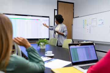 African american businesswoman giving presentation to diverse group of colleagues in meeting room