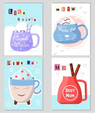 Celebration postcard design creative idea cup, text font love winter, best mom, meow and love me greeting card flat vector illustration.