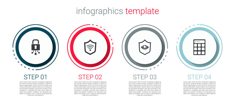 Set Cyber security, Shield with WiFi wireless, and eye and Password protection. Business infographic template. Vector