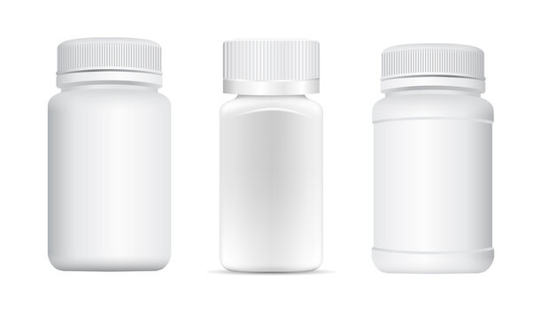 Pill tub. Supplement bottle mockup, capsule jar, small container sample 3d vector. Remedy bottle, pharmacy product with lid. Antibiotic tablet jar, remedy bottle design, matte plastic package