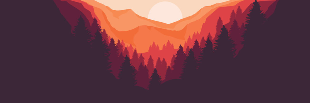 sunset over the mountain vector flat desig illustration for banner template, background template, web banner, tourism concept design and wallpaper