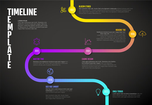 Dark Infographic Curved Timeline Template