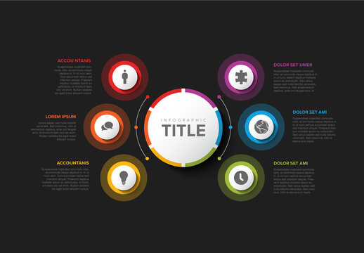 Simple Dark Infographic with Big Center Circle and Six Small Icon Elements