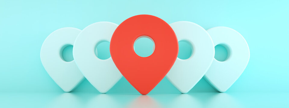 3d pins  with the first one in red, location map symbol 3d render over blue background