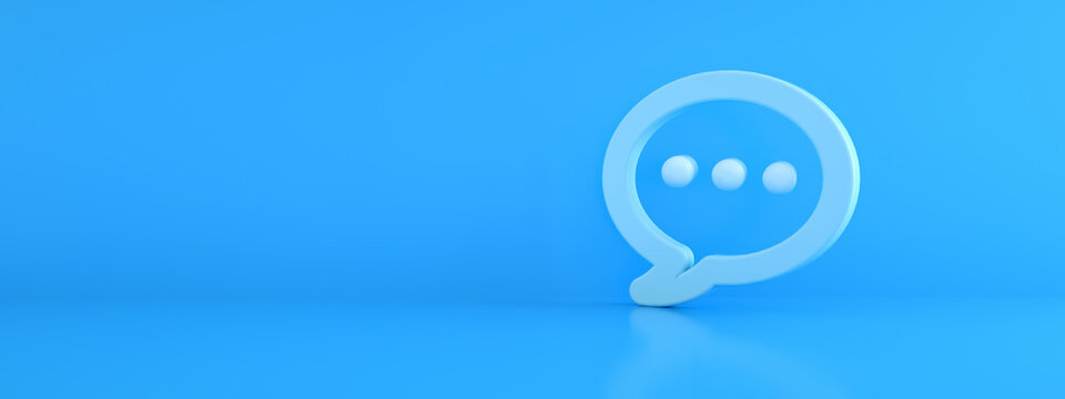 Blue message icon over blue background, 3d rendering, panoramic image