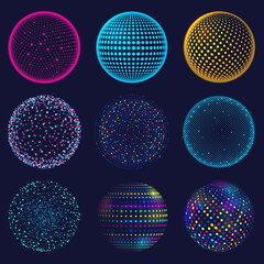 Obraz Dotted neon 3d sphere. Abstract atomic dotted spheres, 3d grid glowing spherical shapes vector illustration set. Digital neon sphere balls - fototapety do salonu