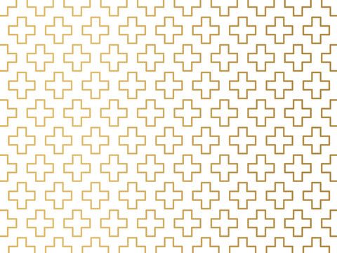 golden christian religion cross pattern - vector illustration