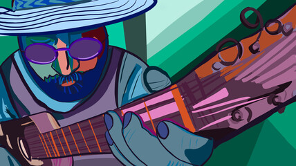 Obraz illustration of man playing guitar, cubism concept art and glasses - fototapety do salonu