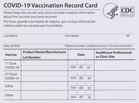 Covid 19 vaccination record card editorial