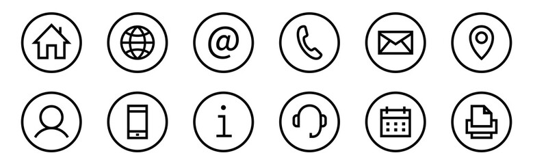 Obraz Web icon set. Web buttons. Website contact icons vector. Contacts icons. Editable Stroke. Vector - fototapety do salonu