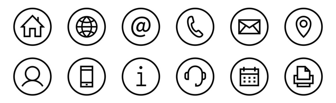 Web icon set. Web buttons. Website contact icons vector. Contacts icons. Editable Stroke. Vector
