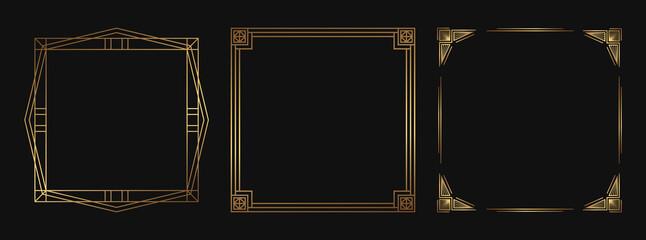 Fototapeta Set of golden decorative frames. Isolated Art Deco line art borders with empty space. obraz