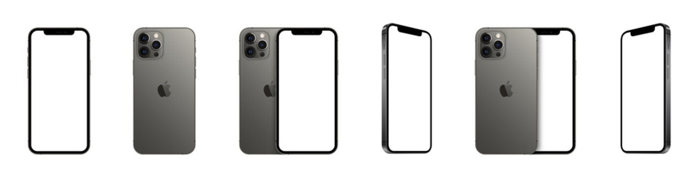 Realistic iPhone 12 pro. Models smartphone with transparent screens. Smartphone mockup collection. Device front view. 3D mobile phone with shadow on transparent background - stock vector.