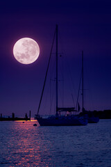 Fototapeta This beautiful pink Super Moonrise above the horizon over sailboats and harbor is a perfect night time illustration of this event.