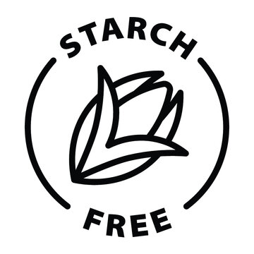 no corn starch free black outline label icon on transparent background