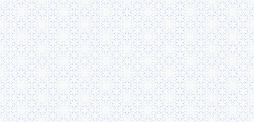 Fototapeta Subtle minimalist geometric floral pattern. Abstract seamless texture with small flower shapes, tiny triangles, snowflakes. Minimal white and blue background. Modern luxury ornament. Repeated design