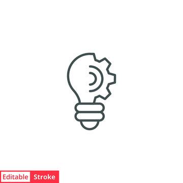 Lightbulb line icon. Simple outline style. Creative solution, lamp, light bulb symbol, technology, bright, inspiration concept. Vector illustration isolated on white background. Editable stroke EPS 10