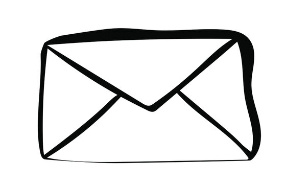 Hand drawn Email envelope icon in doodle style. Message sign for apps and websites. Isolated on white background