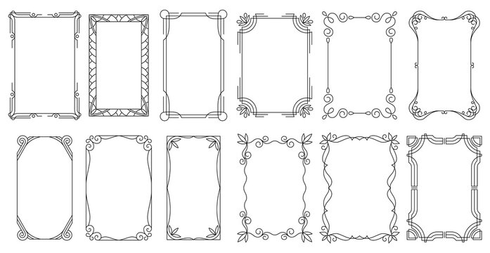 Decorative frames. Vintage calligraphic antique borders. Ornate calligraph rectangle frames, wedding elegant ornamental borders and filigree floral ornaments for framed certificate template