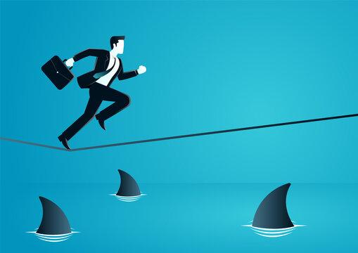 vector illustration of businessman businessman running on rope with sharks underneath. describe challenge, risk, obstacles, take a risk and danger. business concept illustration