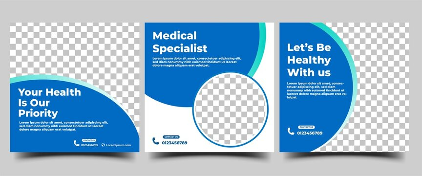 Medical and health care social media post template. Usable for social media, flyers, banners, and web internet ads.