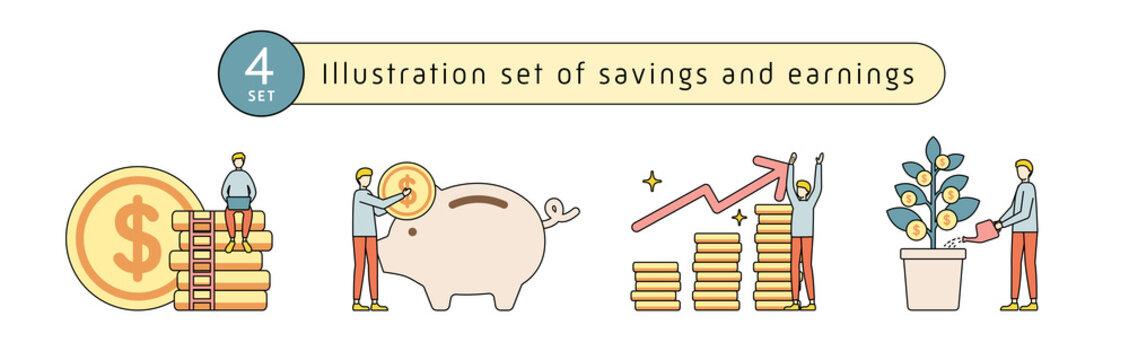 貯金のイラストのセット お金 貯蓄 ブタの貯金箱 人物 男性 貯める コイン 硬貨