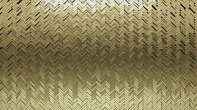 Herringbone Tiles arranged to create a Luxurious wall. Gold, Glossy Background formed from 3D blocks. 3D Render