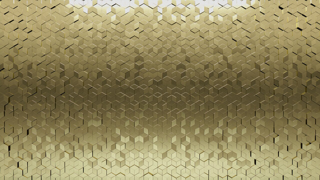 Diamond shaped Tiles arranged to create a 3D wall. Gold, Luxurious Background formed from Glossy blocks. 3D Render