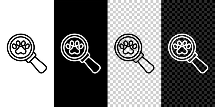 Set line Veterinary clinic symbol icon isolated on black and white, transparent background. Cross hospital sign. Stylized paw print dog or cat. Pet First Aid sign. Vector