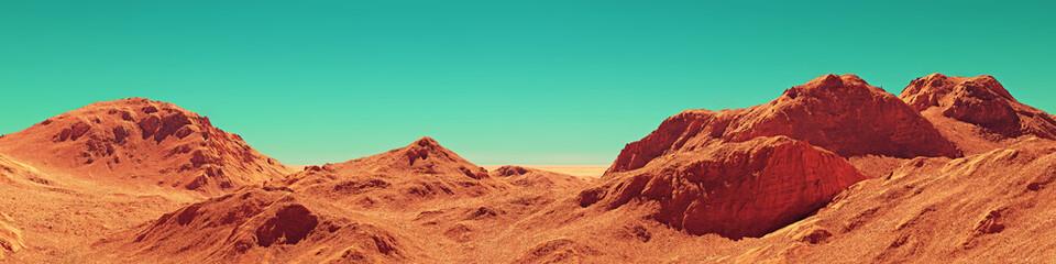 Mars landschap panorama, 3d render van denkbeeldige Mars planeet terrein, oranje woestijn met bergen, realistische science fiction illustratie.