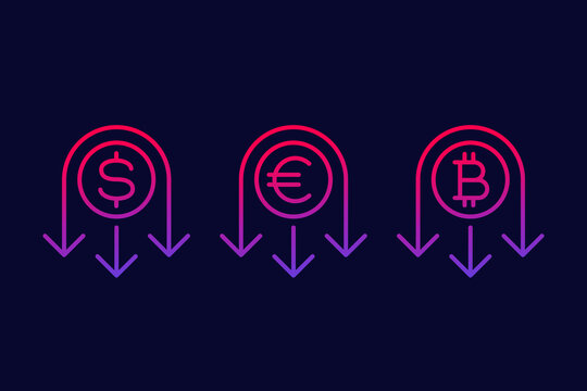 reduce costs line icon with dollar, euro and bitcoin