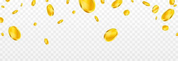 Fototapeta Vector gold coins fall from the sky. PNG money, png coins. Explosion of coins on isolated transparent background. Easy Money.