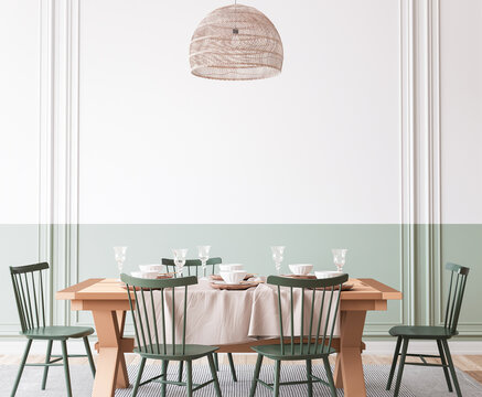 Wooden dining room mockup with wooden table and green chairs on empty wall, farmhouse style, 3d render
