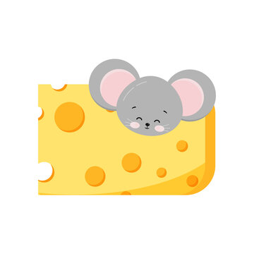 Cute mouse head looking out of hole in cheese vector flat design isolated on white background. Little funny rat in delicious cheese. Cartoon style adorable animal mice character clip art illustration.