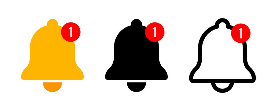 Notification bell icon. Incoming inbox message. New message notofication icons collection. Alarm symbol. Stock vector