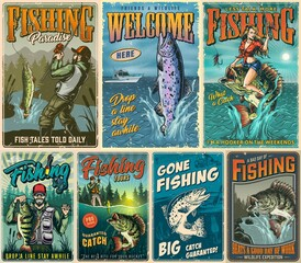 Fishing vintage posters composition