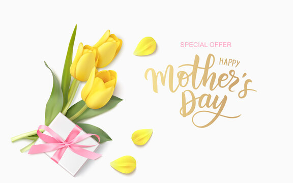 Happy Mothers Day design template. Calligraphic lettering text with decorative gift box and yellow tulip flowers. Vector illustration