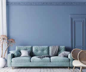 Fototapeta Home interior mock-up with turquoise sofa, wooden table and decor in blue classic living room, 3d render obraz