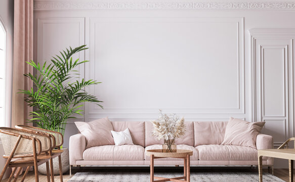 farmhouse interior living room, empty wall mockup in white room with pastel pink sofa, wooden furniture and green plant, 3d render