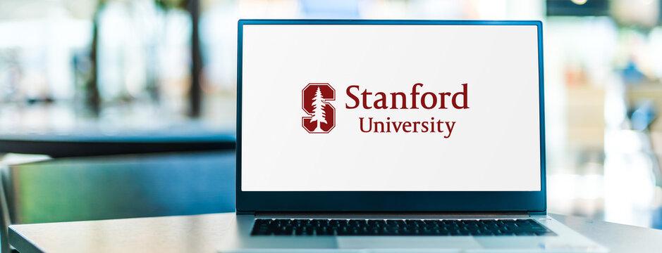 Laptop computer displaying logo of Stanford University