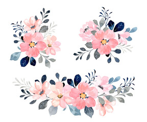 Fototapeta Pink floral bouquet collection with watercolor