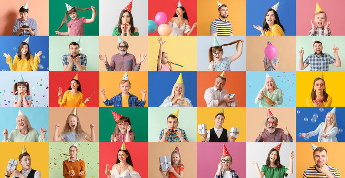 Group of people in party hats on color background