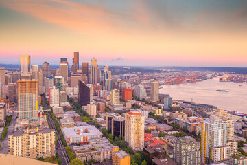 Seattle city downtown skyline cityscape in Washington State,  USA - fototapety na wymiar