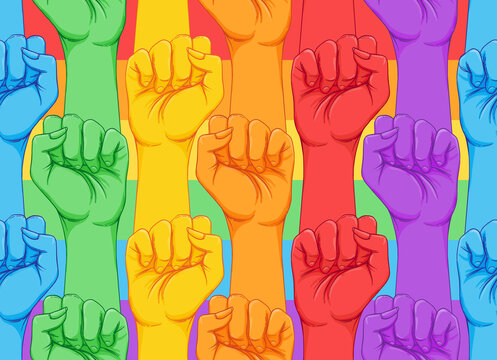 Striped hand showing fist raised up. Gay rights concept. Realistic style vector illustration in rainbow colors. LGBT logo symbols stickers seamless pattern. Colorful pride design.
