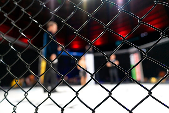 Fight cage arena, mixed martial arts mma championship with blur background.