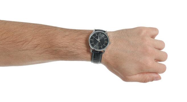 Man wearing luxury wrist watch on white background, closeup