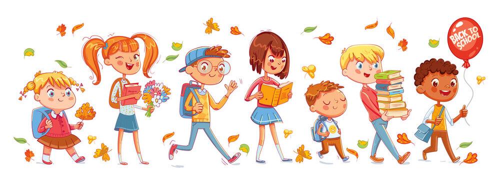 School time. Children go to school. Funny cartoon character